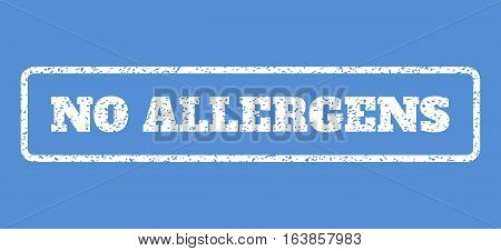 White rubber seal stamp with No Allergens text. Vector tag inside rounded rectangular shape. Grunge design and dirty texture for watermark labels. Horisontal sign on a blue background.