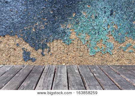 close up wood table on concrete background