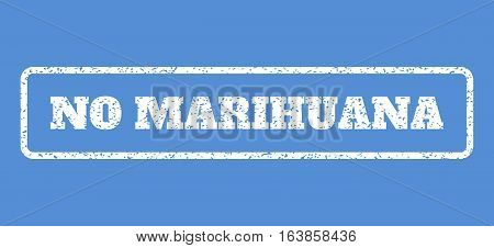 White rubber seal stamp with No Marihuana text. Vector caption inside rounded rectangular shape. Grunge design and unclean texture for watermark labels. Horisontal sticker on a blue background.