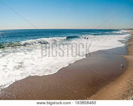 A peaceful view of the beach in Asbury Park New Jersey.