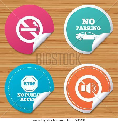 Round stickers or website banners. Stop smoking and no sound signs. Private territory parking or public access. Cigarette symbol. Speaker volume. Circle badges with bended corner. Vector