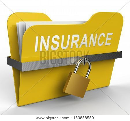 Insurance Folder Shows Indemnity Policy 3D Rendering