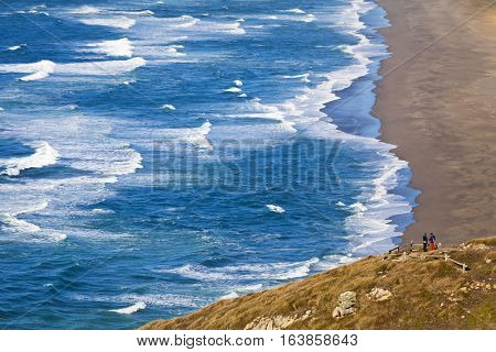 Point Reyes Beach South with overlook of ocean waves