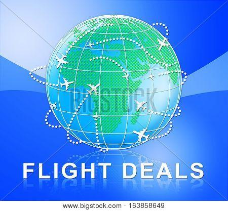 Flight Deals Represents Low Cost Flights 3D Illustration