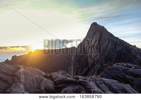 View from Low's Peak of mountain Kinabalu,Sabah,Borneo.Mount Kinabalu is the tallest mountain in Malaysia and the 20th tallest in the World.