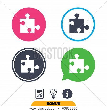 Puzzle piece sign icon. Strategy symbol. Report document, information sign and light bulb icons. Vector