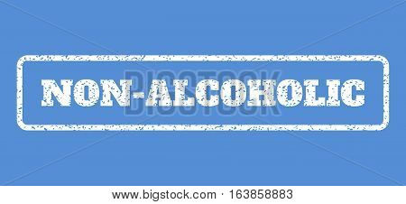 White rubber seal stamp with Non-Alcoholic text. Vector message inside rounded rectangular frame. Grunge design and dust texture for watermark labels. Horisontal emblem on a blue background.