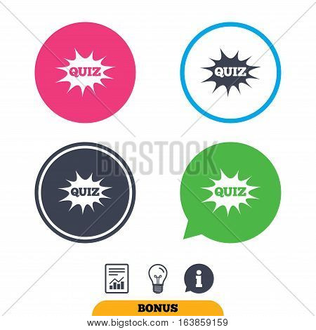 Quiz boom speech bubble sign icon. Questions and answers game symbol. Report document, information sign and light bulb icons. Vector