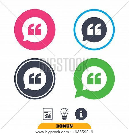 Quote sign icon. Quotation mark in speech bubble symbol. Double quotes. Report document, information sign and light bulb icons. Vector