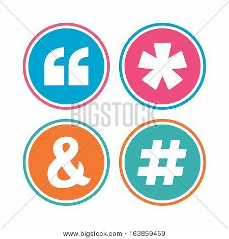 Quote, asterisk footnote icons. Hashtag social media and ampersand symbols. Programming logical operator AND sign. Colored circle buttons. Vector