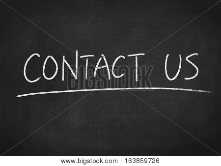 contact us concept word on blackboard chalkboard background