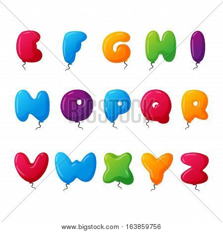 English balloon colorful alphabet on white background. Holidays and education ozone type. Greeting helium cartoon festive decoration vector illustration.