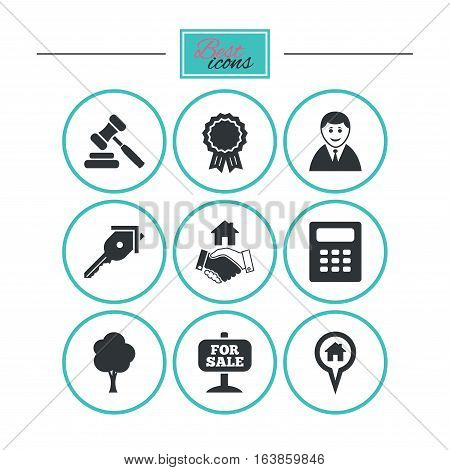 Real estate, auction icons. Handshake, for sale and calculator signs. Key, tree and award medal symbols. Round flat buttons with icons. Vector