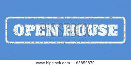 White rubber seal stamp with Open House text. Vector caption inside rounded rectangular shape. Grunge design and unclean texture for watermark labels. Horisontal sign on a blue background.