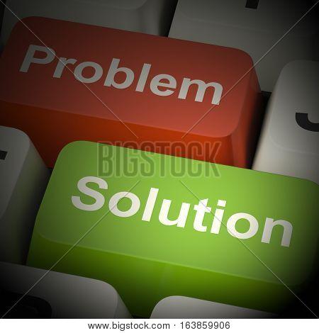 Problem And Solution Computer Keys 3D Rendering