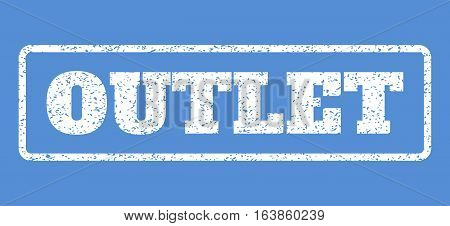 White rubber seal stamp with Outlet text. Vector caption inside rounded rectangular banner. Grunge design and scratched texture for watermark labels. Horisontal sign on a blue background.
