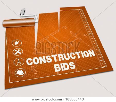 Construction Bids Shows Building Quote 3D Illustration