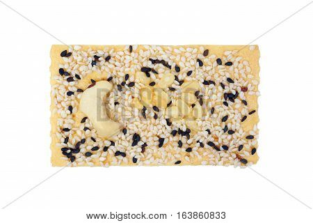 Rectangle Biscuit with multi grains on top isolated