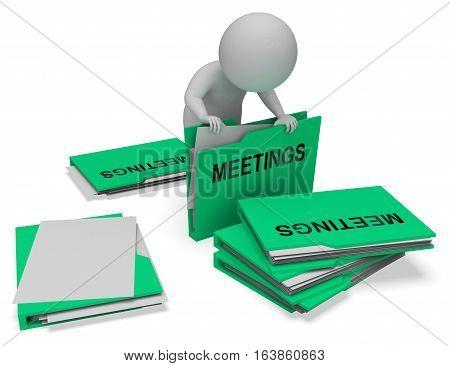 Meetings Folders Means Talk Discussion 3D Rendering