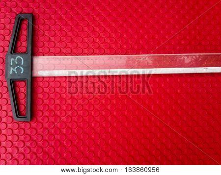 close up ruler on red Eva foam