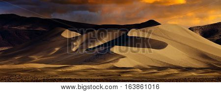 Sand dune in the desert. Sand Mountain is located near Fallon Nevada and is an off road vehicle recreation area.