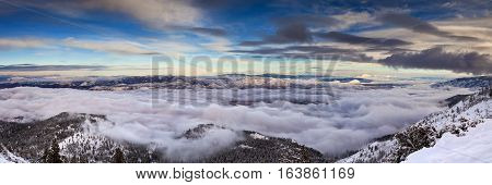 Winter landscape with cloud inversion. Reno Nevada