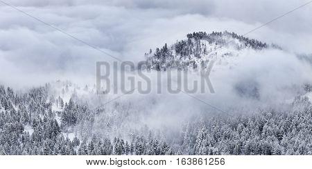 Winter landscape with cloud inversion. Reno Nevada