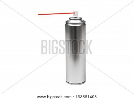 A lubrication spray can isolated on white poster
