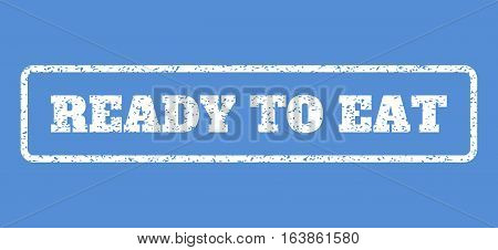 White rubber seal stamp with Ready To Eat text. Vector tag inside rounded rectangular shape. Grunge design and dirty texture for watermark labels. Horisontal sign on a blue background.