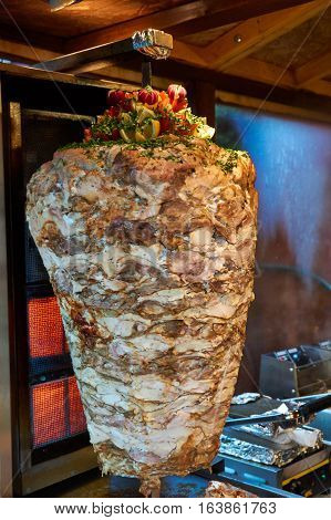 Traditional Turkish Doner Kebab Meat On A Rotary Grill