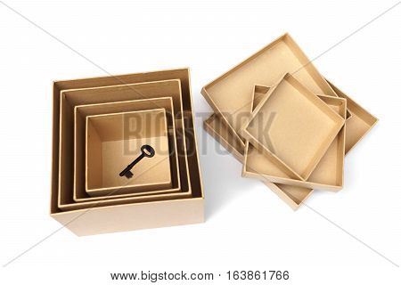 A key in secret boxes / Hidden secret concept