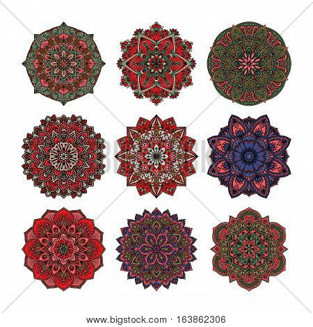 Hand drawn henna abstract mandala pattern flowers and paisley doodle coloring page. Fashion lace oriental turkish motif sign. Arabic ethnic doodle style vector illustration.