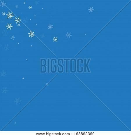 Sparse Snowfall. Scattered Top Left Corner On Blue Background. Vector Illustration.