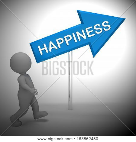 Happiness Sign Shows Joy And Cheer 3D Rendering