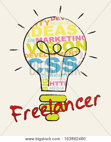 Freelancer Lightbulb Shows Subcontracting Freelancers 3D Illustration
