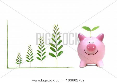 A green piggy bank with a green graph / Green saving concept / Economic growth with environmental concern
