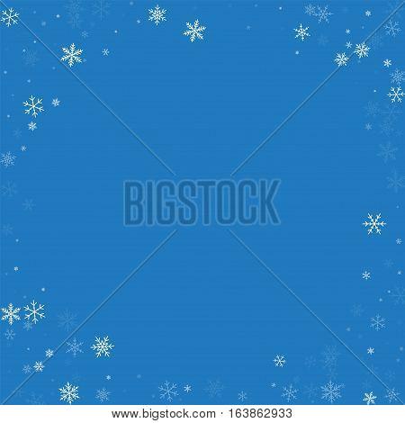 Sparse Snowfall. Corner Frame On Blue Background. Vector Illustration.