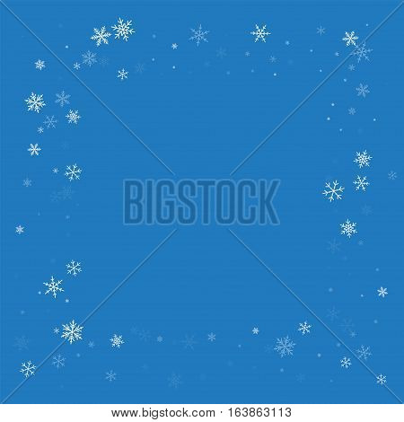 Sparse Snowfall. Square Messy Frame On Blue Background. Vector Illustration.