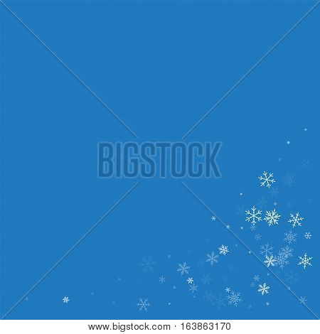 Sparse Snowfall. Bottom Right Corner On Blue Background. Vector Illustration.