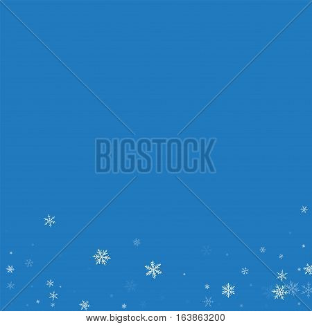 Sparse Snowfall. Abstract Bottom On Blue Background. Vector Illustration.