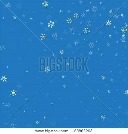 Sparse Snowfall. Random Scatter On Blue Background. Vector Illustration.