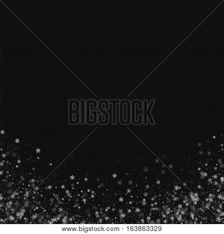 Beautiful Snowfall. Abstract Bottom On Black Background. Vector Illustration.
