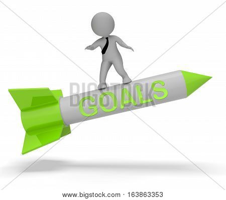 Goals Rocket Indicates Aspiration Desires 3D Rendering