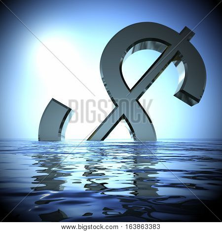 Dollar Sinking In The Sea Showing Depression Recession 3D Rendering