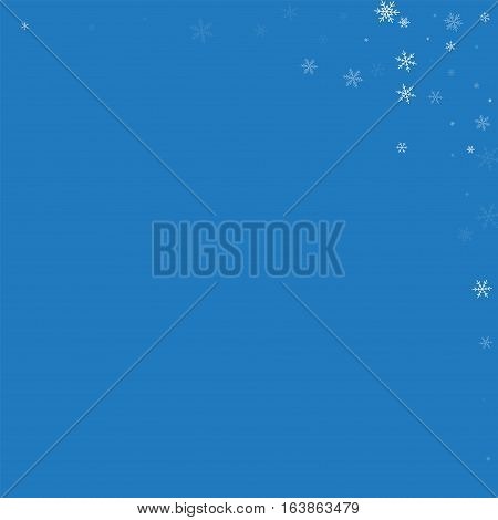 Sparse Snowfall. Abstract Right Top Corner On Blue Background. Vector Illustration.