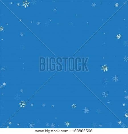 Sparse Snowfall. Square Abstract Frame On Blue Background. Vector Illustration.