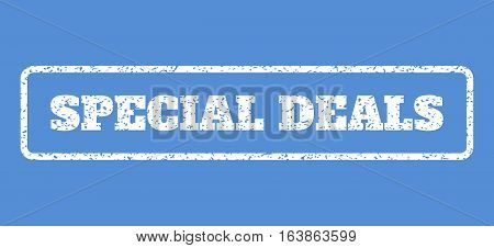 White rubber seal stamp with Special Deals text. Vector message inside rounded rectangular shape. Grunge design and dust texture for watermark labels. Horisontal sign on a blue background.