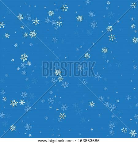 Sparse Snowfall. Scatter Vertical Lines On Blue Background. Vector Illustration.
