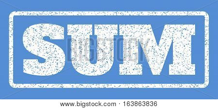 White rubber seal stamp with Sum text. Vector tag inside rounded rectangular shape. Grunge design and dirty texture for watermark labels. Horisontal sticker on a blue background.