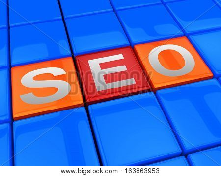 Seo Blocks Means Search Engine Optimization 3D Illustration